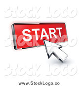 Vector Clipart of a 3d Arrow Cursor Clicking on a Start Button by Beboy