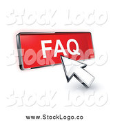 Vector Clipart of a 3d Arrow Cursor on a Red FAQ Button by Beboy