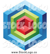 Vector Clipart of a 3d Blue, Red and Green Cube Logo Icon by Cidepix