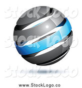 Vector Clipart of a 3d Gray and Blue Globe by Beboy