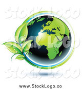 Vector Clipart of a 3d Green and Dark Blue African Globe Circled with Blue and Green Lines and Dewy Leaves by Beboy