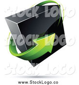 Vector Clipart of a 3d Green Arrow Circling a Floating Black Box by Beboy