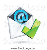 Vector Clipart of a 3d Green Check Mark over an Envelope with a Blue at Symbol by Beboy