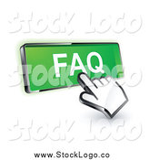 Vector Clipart of a 3d Hand Cursor on a Green FAQ Button by Beboy