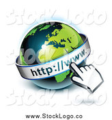 Vector Clipart of a 3d Hand Cursor over an African Globe Logo by Beboy