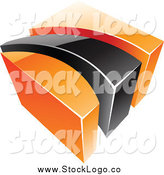 Vector Clipart of a 3d Orange and Black Swoosh and Cube Logo by Cidepix