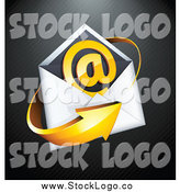 Vector Clipart of a 3d Orange Arrow with an Envelope and at Symbol, on a Black Lined Background by Beboy