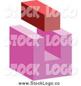 Vector Clipart of a 3d Red Brick and Abstract Pink Block Logo by Vectorace