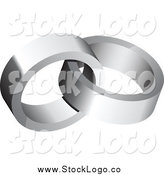Vector Clipart of a 3d Silver Wedding Rings Logo by Vectorace