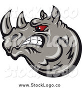 Vector Clipart of a Angry Gray Rhino with Red Eyes Logo by Vector Tradition SM