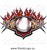 Vector Clipart of a Baseball over a Tribal Shield and Red Flames by Chromaco