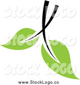 Vector Clipart of a Black and Green Leaf Logo by Elena