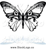 Vector Clipart of a Black and White Butterfly with a Gray Reflection Nature Logo by Dero