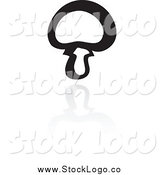 Vector Clipart of a Black and White Button Mushroom Logo and Reflection by Cidepix