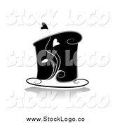 Vector Clipart of a Black and White Cake with Hearts by BNP Design Studio