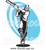 Vector Clipart of a Black and White Cricket Batsman over a Blue Logo by Patrimonio