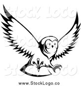 Vector Clipart of a Black and White Flying Owl Logo by Vector Tradition SM