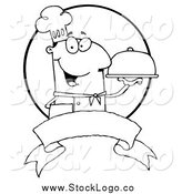 Vector Clipart of a Black and White Friendly Male Chef Holding a Platter over a Blank Banner and Circle by Hit Toon