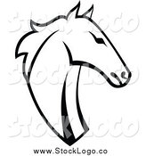 Vector Clipart of a Black and White Horse Head Profile Logo by Vector Tradition SM