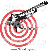 Vector Clipart of a Black and White Hunter Aiming a Rifle on a Red and White Target Logo by Patrimonio
