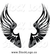 Vector Clipart of a Black and White Pair of Wings Logo by Vector Tradition SM