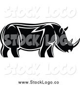 Vector Clipart of a Black and White Rhino in Profile Logo by Vector Tradition SM