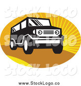 Vector Clipart of a Black and White SUV over Sunshine Logo by Patrimonio