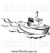 Vector Clipart of a Black and White Tug Boat Logo by Patrimonio