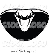 Vector Clipart of a Black and White Viper or Cobra Snake Logo by Vector Tradition SM