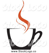 Vector Clipart of a Black Coffee Cup with Brown Steam Logo by Vector Tradition SM
