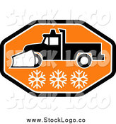 February 12nd, 2014: Vector Clipart of a Black White and Orange Snow Plow Logo by Patrimonio