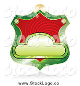 Vector Clipart of a Blank Green Shield Label with Red Swirls by MilsiArt