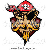 Vector Clipart of a Blond White Male Pirate Face with a Bandana and Eye Patch Logo by Chromaco