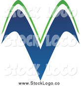 Vector Clipart of a Blue and Green Hills or Letter V Logo by Cidepix