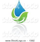 August 17th, 2015: Vector Clipart of a Blue and Green Organic and Ecology Water Drop and Leaf Logo by Elena