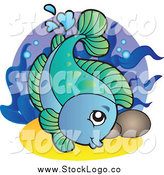 Vector Clipart of a Blue and Green Swimming Freshwater Fish by Visekart