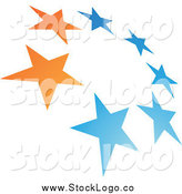 Vector Clipart of a Blue and Orange Tilted Circle of Stars Logo by Cidepix