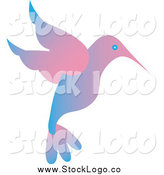 Vector Clipart of a Blue and Pink Gradient Hummingbird Logo by Pams Clipart