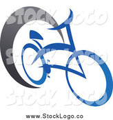 Vector Clipart of a Blue Bicycle and Gray Swoosh Logo by Vector Tradition SM