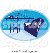 Vector Clipart of a Blue Cargo Ship and Crane over Rays by Patrimonio