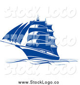 Vector Clipart of a Blue Sailing Ship at Sea Logo by Vector Tradition SM