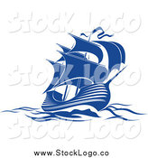 February 20th, 2014: Vector Clipart of a Blue Sailing Ship Logo by Vector Tradition SM