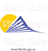 Vector Clipart of a Blue Skyscraper and Yellow Sun Logo by Vector Tradition SM