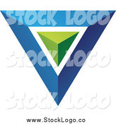 June 22nd, 2014: Vector Clipart of a Blue Triangle or Pyramid Logo with a Green Center by Cidepix