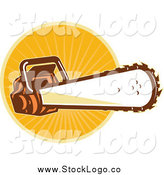 Vector Clipart of a Chainsaw over Orange Rays Logo by Patrimonio