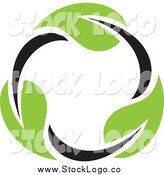 Vector Clipart of a Circle of a Seedling Plant Leaves Logo by Elena