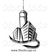Vector Clipart of a City Skyscraper Logo by Vector Tradition SM