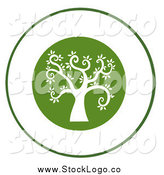 Vector Clipart of a Curly Branched White Tree on a Green Logo by Hit Toon