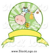 Vector Clipart of a Dairy Cow Eating a Flower in a Circle over a Banner Logo by Hit Toon