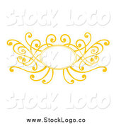 Vector Clipart of a Decorative Yellow Swirl Frame Logo by Cherie Reve